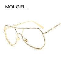 MOLGIRL Luxury Diamond Metal Glasses Women Vintage Big Frame Optics Classic Eyeglasses Clear Transparent Lens Frog