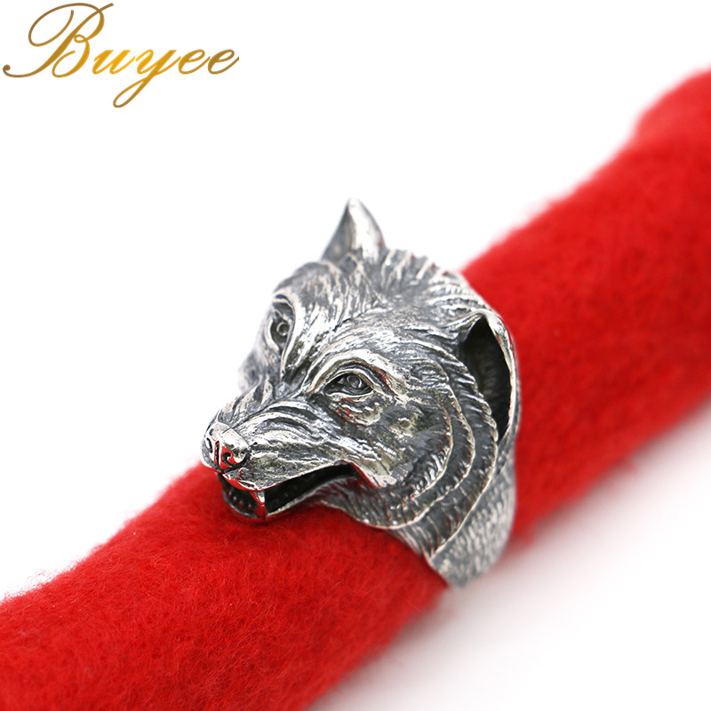 BUYEE Wholesale Thai Silver Wolf Head For Man Cool Punk Male Ring Personality Style Jewelry gothic style wolf head design aic alloy brooch silver
