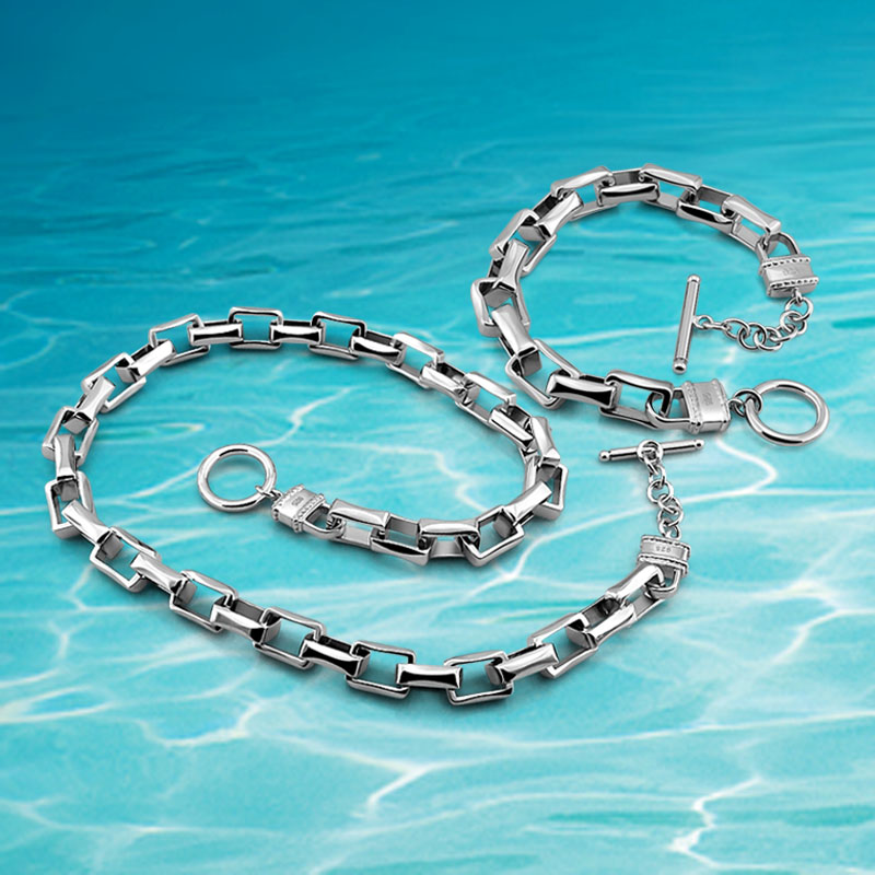 Bracelet en argent sterling 925, ensembles de colliers pour hommes, collier à bracelet épais large édition, ensembles de bijoux carrés