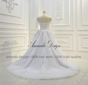 Image 4 - Amanda ออกแบบ robe de mariee แขนยาว Beading ที่ถอดออกได้กระโปรงชุด