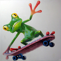 Decorative Art Handmade Oil Painting On Canvas Love Skateboarding Frogs Picture For Living Room Wall Paintings