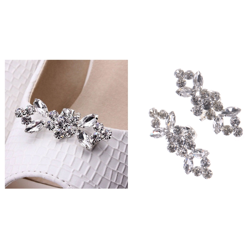 2018 Fashion Rhinestone Shoes Buckle Elegant Shoe Clips For Decorating 2Pcs Of 1 Pack Silver Shoe Decorations For Women Girl