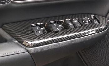 Para Honda CRV 2017 2018 CR-V ventana ascensor interruptor puerta reposabrazos espejo cerradura ajustar cubierta Interior adornos de fibra de carbono
