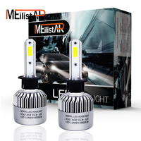 Meilistar S2 H1 72W Pair COB Car LED Headlight Bulbs 6500K 8000LM Single Beam Automobile Headlights
