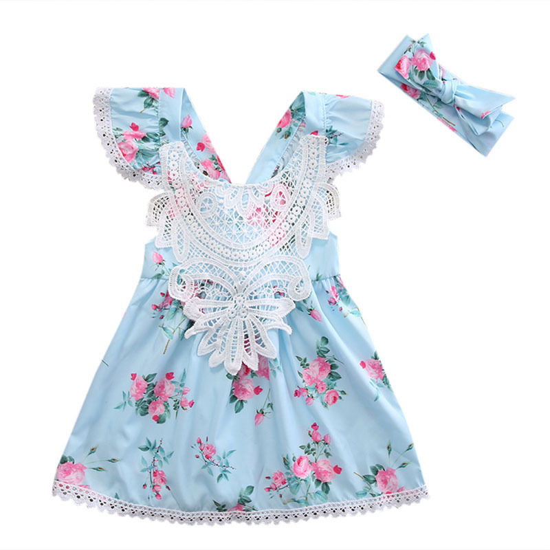 Newborn Toddler Kids Baby Girl Flower Floral Dress Clothes Children Clothing Summer Girls Costume Princess Lace Dresses 2pcs girl dress 2 7y baby girl clothes summer cotton flower tutu princess kids dresses for girls vestido infantil kid clothes