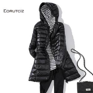 Image 4 - EORUTCIZ Winter Long Down Coat Women Plus Size 7XL Ultra Light Warm Hoodie Jacket Vintage Black Autumn Duck Down Coat LM171