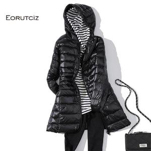 Image 4 - Eoretciz 겨울 긴 코트 여성 플러스 크기 7xl 울트라 라이트 따뜻한 까마귀 자 켓 빈티지 블랙 가을 오리 코트 lm171