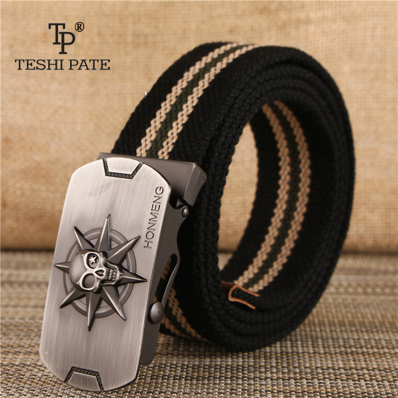 TESHI PATE TP 2018 canvas belt Men Canvas belt Youth casual trousers Korean version of the smooth buckle Skull head belt