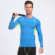 Tights and fitness clothing long sleeved tops for men sweat running compression shirt quick dry stretch slim training clothes