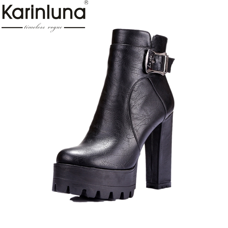KARINLUNA Big Size 34-42 Women Ankle Boots Buckle Add Plush Platform Square High Heels Shoes Woman Autumn Winter shoes women 2018 new big size 34 42 women cross tied pumps stiletto ankle buckle gladiator high heels blue red platform wedding bridal shoes