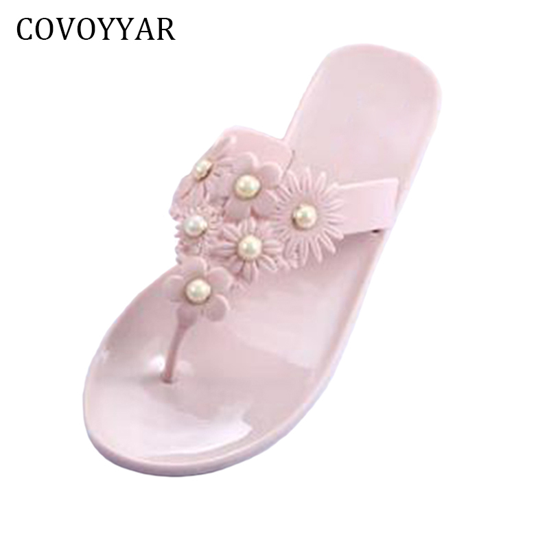 COVOYYAR 2018 Sweet Flowers Women Flip Flops Summer Beach Slippers Pearl Jelly Shoes Slip On Flat Women Sandals WSS817 suihyung design new women and men summer flat shoes hit color breathable hollow beach slippers flips non slip unisex sandals