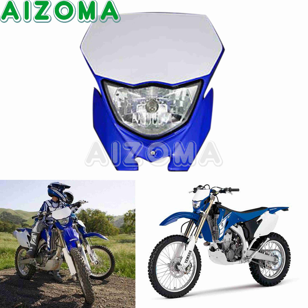 Enduro MX Supermoto 12v 35w Headlight Fairing Universal Head Light Headlamp Mask For Yamaha XT WRF YZF TTR 125/225/250/450/500Enduro MX Supermoto 12v 35w Headlight Fairing Universal Head Light Headlamp Mask For Yamaha XT WRF YZF TTR 125/225/250/450/500