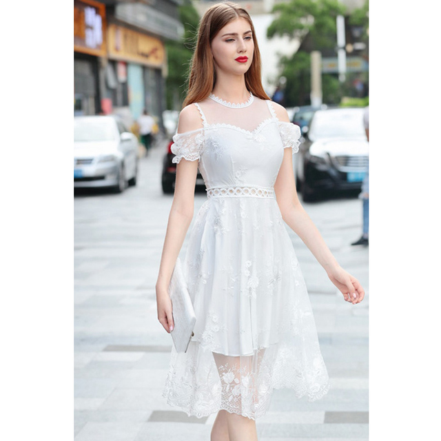4a436438d3 womens summer fashion purple   white floral embroidered cute dress hollow  out crochet a line knee length dress sexy sheer dress