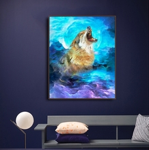Howling Wolf Animals Print On Canvas Home Decor Wall Art Oil Painting Pictures Postesrs for Living Room Bedroom Decoration