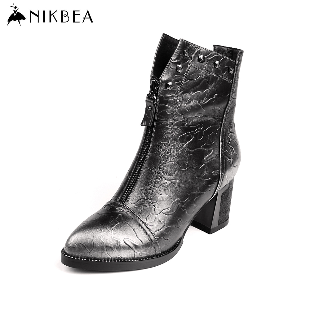 Nikbea Genuine Leather Retro Rivet Western Cowboy Boot Large Size Brand Chunky Low Heel  Ankle Boots for Women Botines Mujer nikbea handmade genuine leather western boots cowboy large size women pointed toe boots 2016 autumn shoes fashion botas mujers