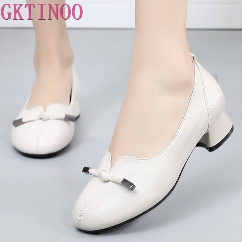 GKTINOO 2019 Women Autumn Spring Genuine Leather Low Thick Heels Shoes Handmade Vintage Shoes Cowhide Woman