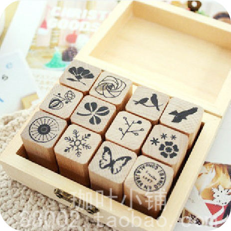 Diy wooden box decoration stamp 12pcs/lot ,Little bird butterfly flower stamps,scrapbooking stamp,free shipping
