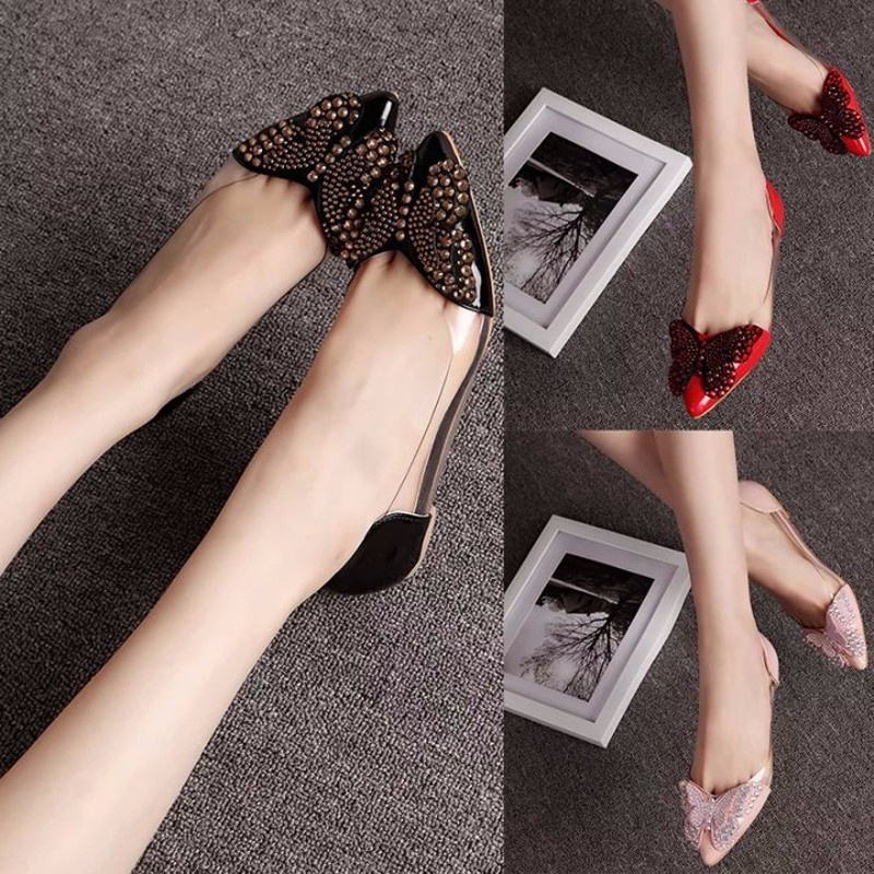 Image 4 - 2018 Luxury Rhinestone Ballet Flat Shoes Women Spring Autumn Butterfly Pointed Toe Wedding Shoes Loafers Size 39Womens Flats   -