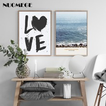 NUOMEGE Nordic Plant Wave Canvas Art Print Painting Poster Landscape Wall Pictures for Home Decoration Simple LOVE Decor