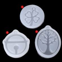 UV Resin Jewelry Liquid Silicone Mold Clover Bell Tree Frame DIY Jewelry Pendant(China)