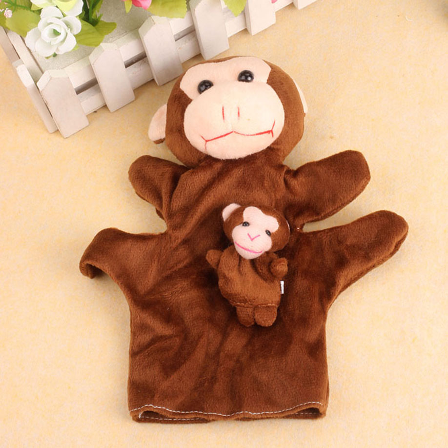 MUQGEW 2017 New Hot Sale 2Pcs Monkey Soft Animal Finger Puppet Baby Infant Kid Toy Plush Toys Stuffed Kid Animal Soft Plush Gift