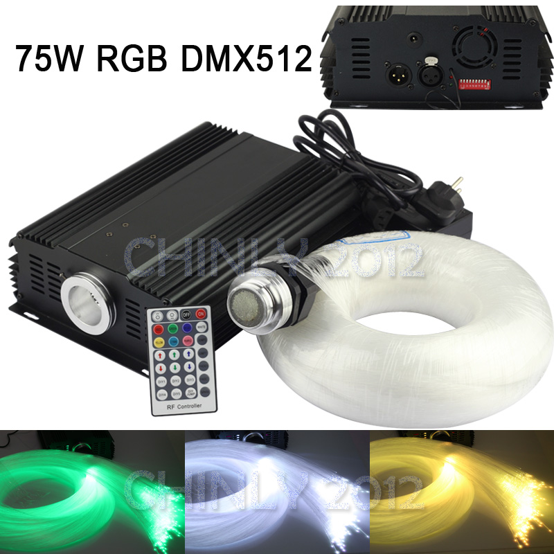 DMX 75W RGB 28key remote LED Fiber Optic  star ceiling kit light 1000pcs 5m 0.75mm for star sky ceiling