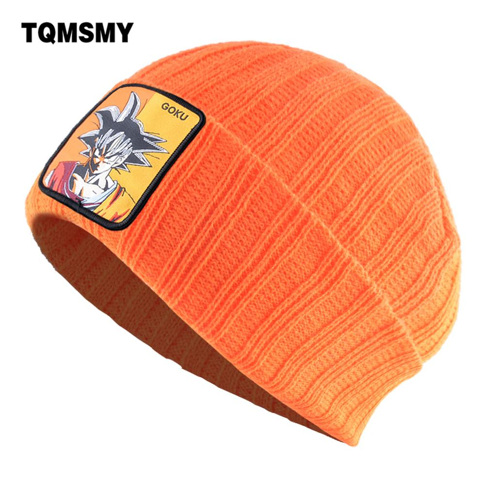 TQMSMY Autumn Winter Skullies Beanies Men Solid Color Knitted Hat For Women GOKU Patch Knit Bonnet Cap Streetwear Hip Hop Gorras(China)