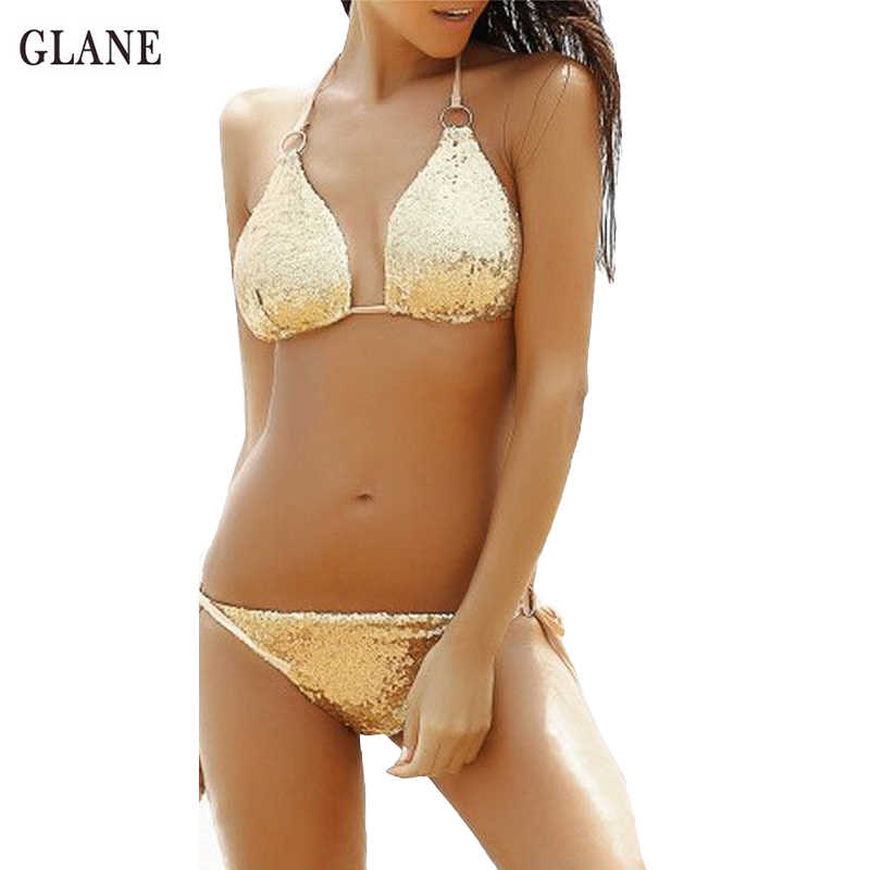 521a5a2eb2 Two Piece Sequins Swimwear 2017 Sexy Women Push-up Padded Bra Bikini Set  Bandage Swimsuit