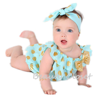 Baby Girl Clothes Gold Polka Dot Bodysuit Newborn Baby Playsuit Birthday Outfit Photo Prop