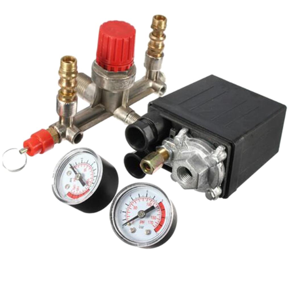 Image 4 - Air Compressor Pressure Valve Switch Manifold Regulator Gauge 175psi-in Pneumatic Parts from Home Improvement