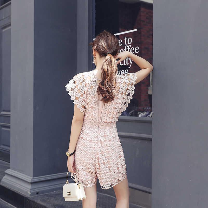 Новое поступление Для женщин цветок кружева комбинезон в технике пэчворк без рукавов с v-образным вырезом в стиле ретро Высокая талия Элегантный Офисные женские туфли розовый комбинезон S94201F