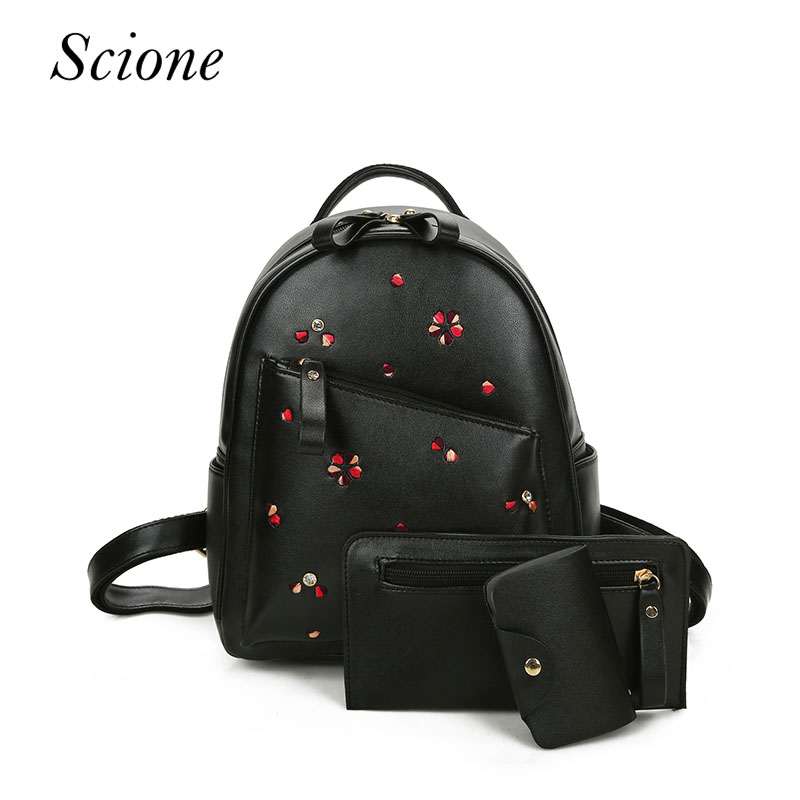 Fashion Women Backpack Pu Leather Composite Bag Cute School Backpacks For Teenage Girls Black Bags Letter Sac A Dos  3 Sets Bag women pu leather backpack mansur lady leather backpack girl leather school bag free shipping fashion girls bag