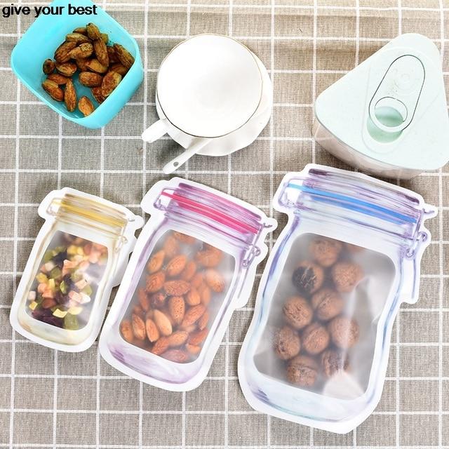10 cái Mason Jar Thực Phẩm Mẫu Saver Lưu Trữ Túi Đặt bếp organizer Trẻ Em của Snacks Ăn Nhẹ túi tươi Thực Phẩm lưu trữ túi