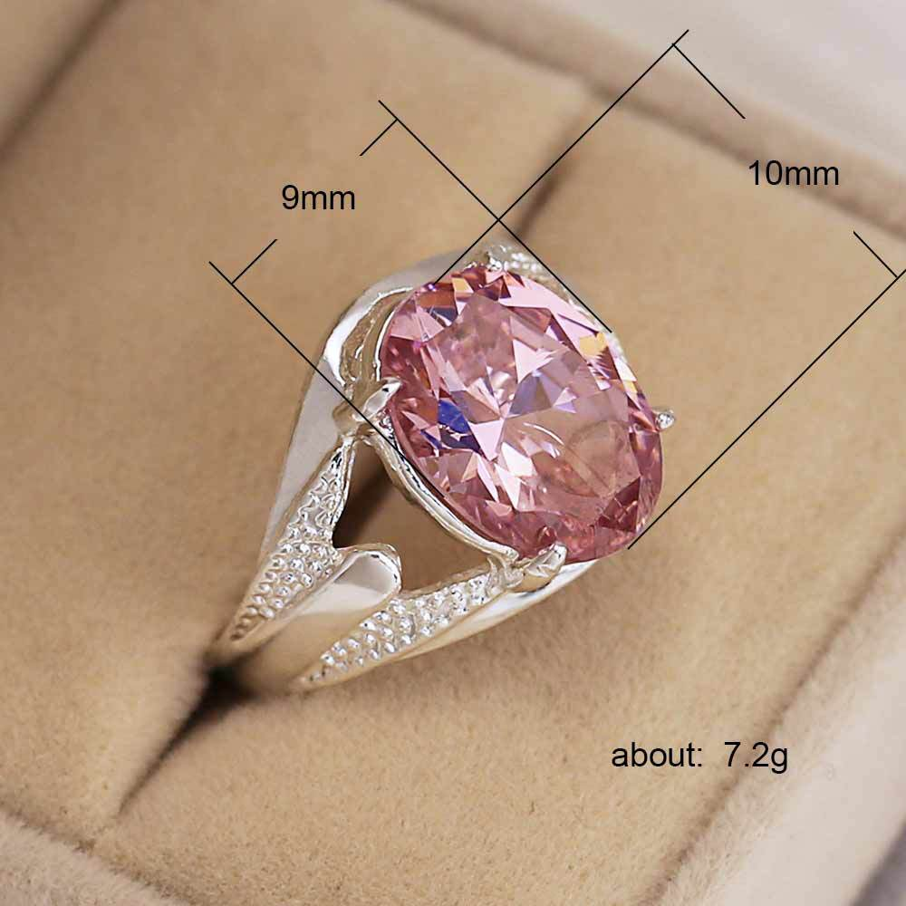 Huitan Old Wedding Women Ring With Pretty Pink Cubic Zircon Silver Plated Vintage Engagement Ring Factory Direct Sale Hot Sale in Engagement Rings from Jewelry Accessories