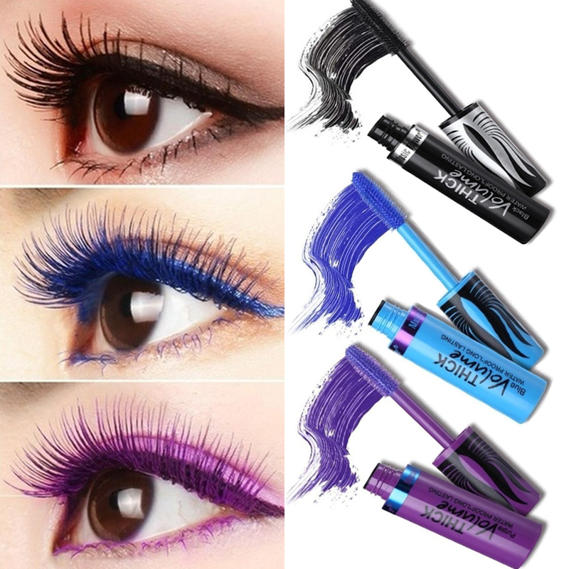 Black Green Mascara Waterproof Eyelashes Curling Lengthening Makeup Colorful Pigment Volume Eyes Make up Purple Mascara image