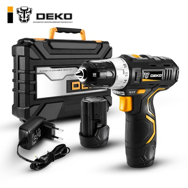 DEKO GCD12DU3 12 В Max Электрическая отвертка аккумуляторная дрель мини Беспроводной Мощность драйвер DC литий-ионный Батарея 3/8-дюймовый 2-Скорость