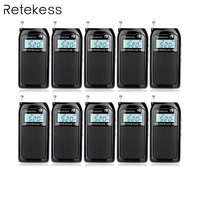 10 шт Retekess PR12 портативное карманное радио FM/AM Цифровая настройка радиоприемник MP3 музыкальный плеер с Перезаряжаемые Батарея