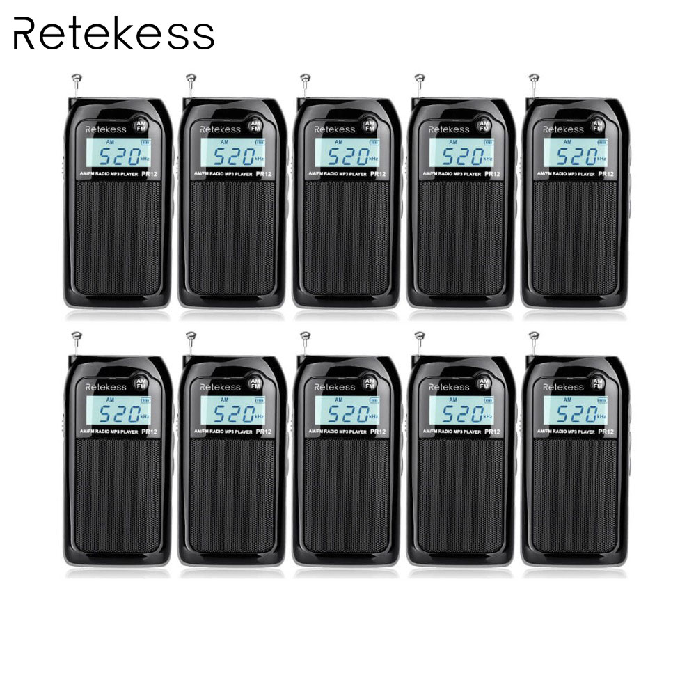 Retekess FM//AM Digital Tuning Radio MP3 Music Player+Battery+LCD Backlight US