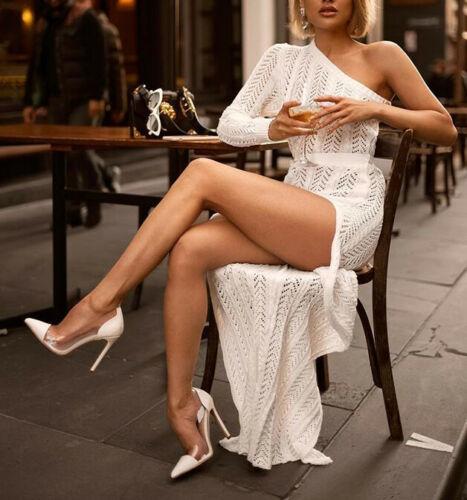 ZOGAA Sexy femmes une épaule à manches longues robe soirée longue Maxi robe Slim blanc robe femmes vêtements robe élégante