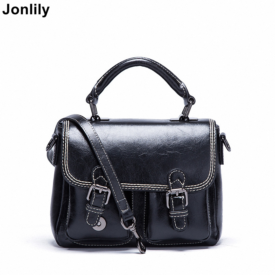 Jonlily Women's Genuine Leather Crossbody Messenger Bags Classic Vintage Giant Capacity Casual Female Shoulder Bags -KG099 jonlily women s genuine leather shoulder bags casual female crossbody bags fashion messenger bags high quality purse kg100