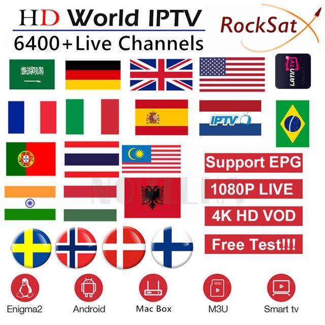 אירופה IPTV מנוי Rocksat צרפת בריטניה גרמנית ערבית הולנדי שוודיה צרפתית פולין פורטוגל חכם טלוויזיה IPTV M3U 6000 חי