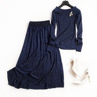 Women fashion cute bee beading knit sweater tops long sleeve elegant + pleated skirt suit 2 piece set lurex new 2018 autumn blue