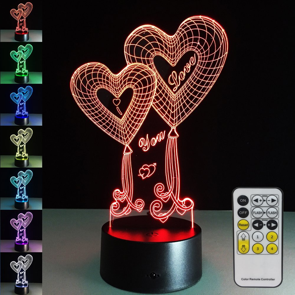 Night Lights As Valentine's Day Gift Decorations 7 Colors Change Remote 3D LED Touch Baby Night Light Beside Lamp Free Drop Ship