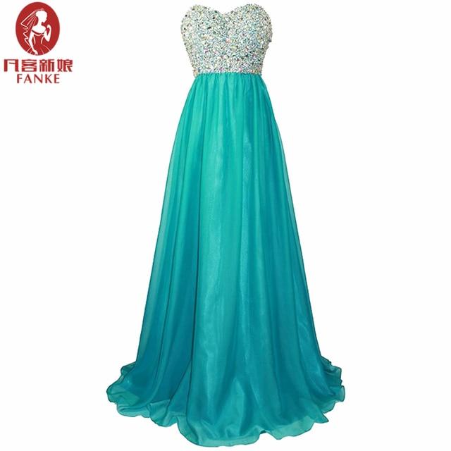 Vestido para festa longo azul turquesa