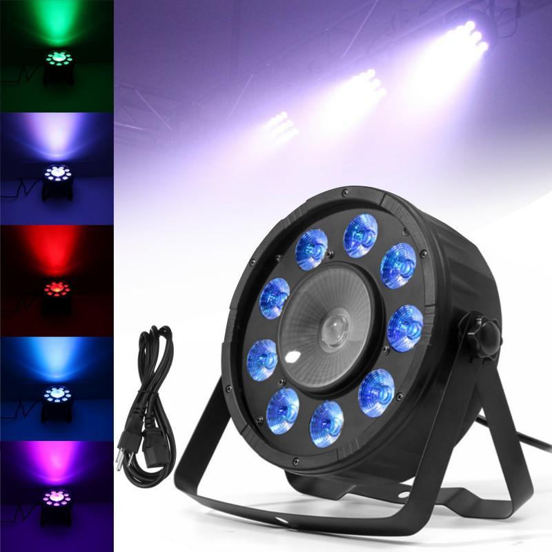 Smuxi LED Stage Lights 10 RGB PAR LED DMX Stage Lighting Effect DMX512 Master-Slave Led Flat for DJ Disco Party KTV premium led stage lights 18w rgb led flat par light stage lamp dmx512 disco dj bar effect up lighting for dj disco party ktv
