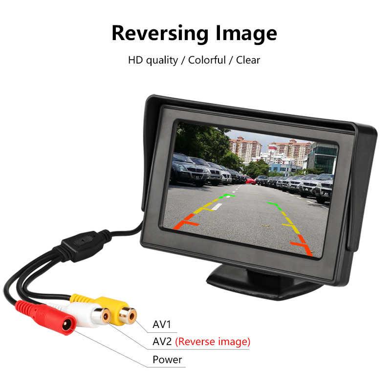 """Car Monitor 4.3 """"Schermo Per Inverso di Retrovisione Della Macchina Fotografica TFT LCD Display HD Digitale a Colori PAL/NTSC Doppio lente di Inversione di Priorità"""