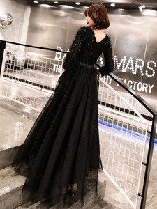 Image 3 - weiyin 2020 Long Formal Evening Dresses Black Womens Elegant V neck Long Sleeve Sequined Prom Evening Party Gowns WY1273