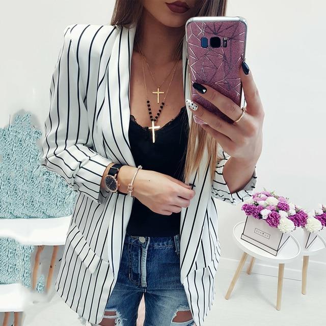 2019 Nieuwe Mode Streep Jassen Vrouwen Slanke OL Jassen Casual Jacket Jas Uitloper Lange Mouw Vest Open Stitch Black & wit Tops