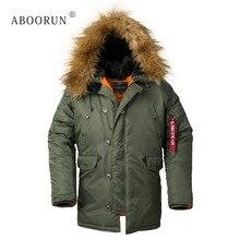 c8c142f1280 Aboorun Для мужчин бомбардировщик куртки с меховой воротник Военная  толщиной теплое пальто с капюшоном Для Мужчин s