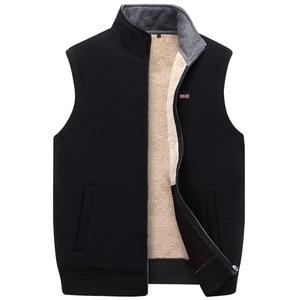 Image 3 - ICPANS Winter Thick Cotton Vests Mens Loose Thicken Fleece Vest Waistcoat  Mens Outerwear Men Coats Plus Size XXXXXL